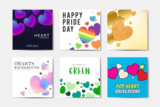 Conjunto de fondos cuadrados encantadores. fondo de corazones, feliz día del orgullo, arte pop