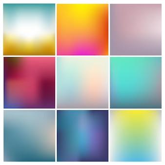 Conjunto de fondos desenfocados coloridos abstractos