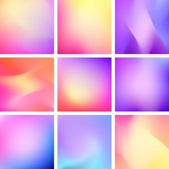 Conjunto de fondos gradiente moda vector abstracto.