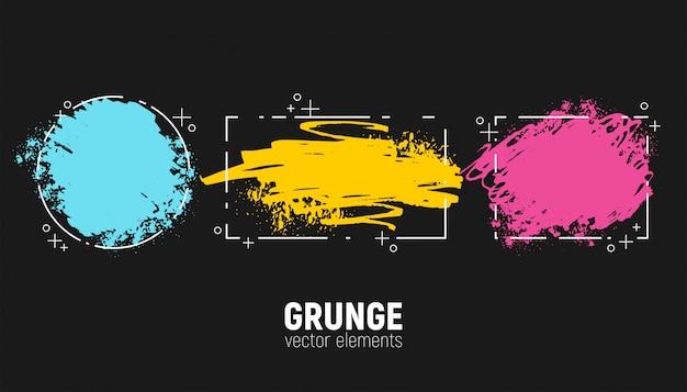 Conjunto de fondos grunge. trazos de pincel de dibujo a mano.