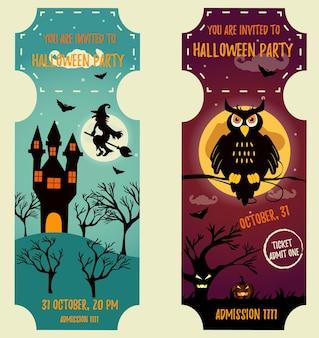Conjunto de fondos de halloween con personajes brillantes. plantilla de invitación de fiesta