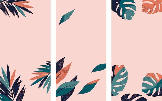 Conjunto de fondos de la historia de instagram con palmeras tropicales y hojas de monstera.