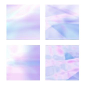 Conjunto de fondos holográficos borrosos abstractos en colores pastel claros