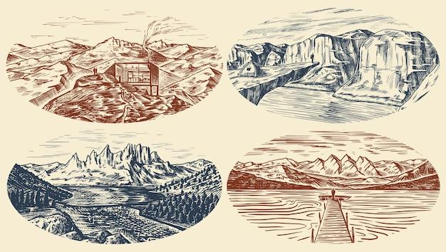 Conjunto de fondos de paisaje de montaña