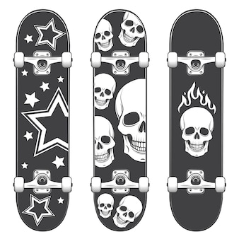 Conjunto de fondos de patineta. diseño de monopatín estilo monocromo