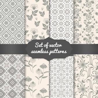 Conjunto de fondos de patrones sin fisuras de flor. elegantes texturas para fondos, fondos de pantalla, etc.
