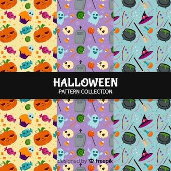 Conjunto de fondos de patrones de halloween