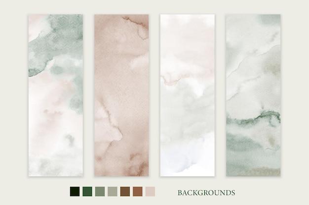 Conjunto de fondos de tonos tierra pintados a mano de acuarela mancha para tarjeta de banner o plantilla de volante.