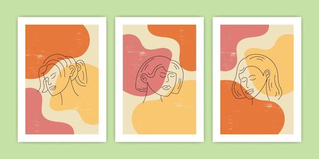 Conjunto de forma abstracta con ilustración de hoja