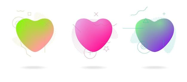 Conjunto de forma de corazón de forma geométrica abstracta de color líquido banderas coloridas abstractas de plástico moderno fluido