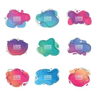 Conjunto de forma líquida abstracta diseño fluido elementos gráficos modernos abstractos formas de gradiente líquido