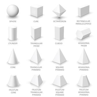 Conjunto de formas 3d básicas, sólidos geométricos blancos sobre un fondo blanco.