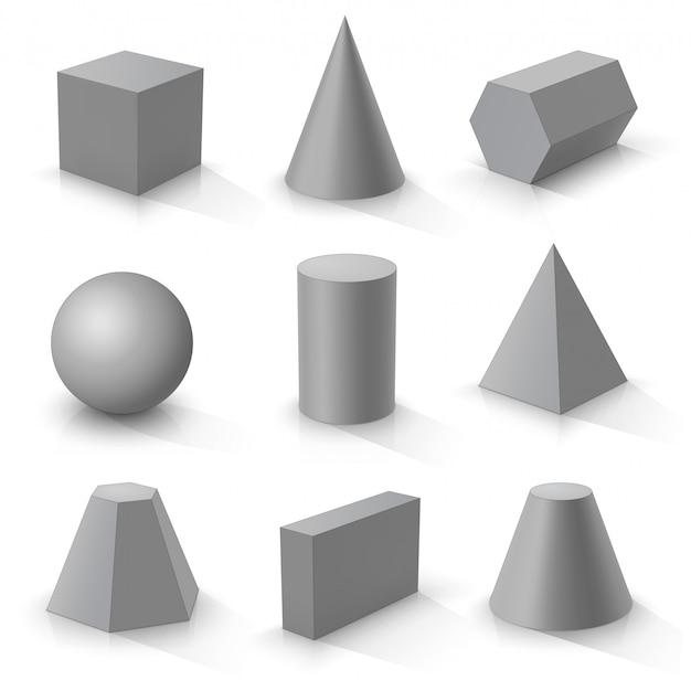 Conjunto de formas 3d básicas, sólidos geométricos grises sobre un fondo blanco.