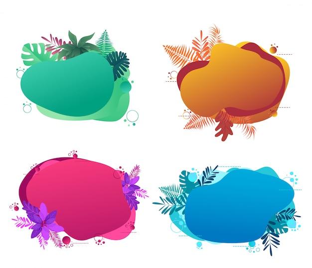 Conjunto de formas de burbujas geométricas abstractas líquidas con flores tropicales.
