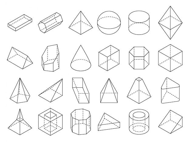 Conjunto de formas de contorno geométrico 3d isométrico abstracto