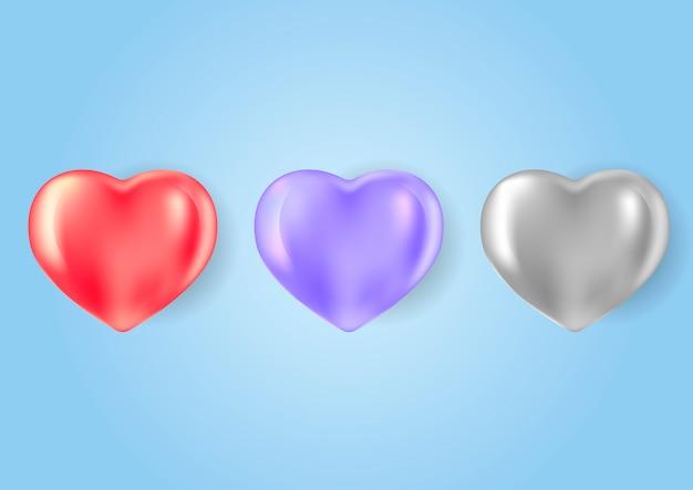 Conjunto de formas de corazón de diferentes colores en estilo 3d realista