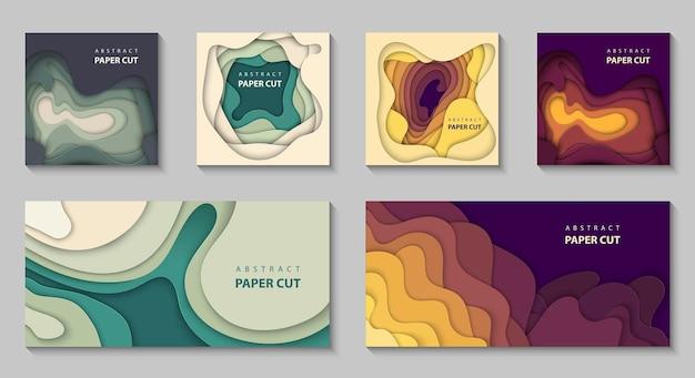 Conjunto de formas de corte de papel de colores