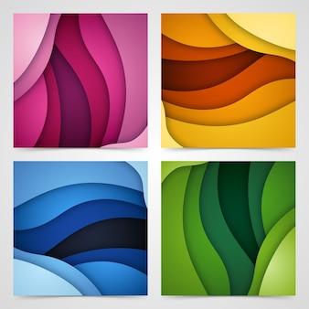 Conjunto de formas de corte de papel y fondo abstracto 3d,