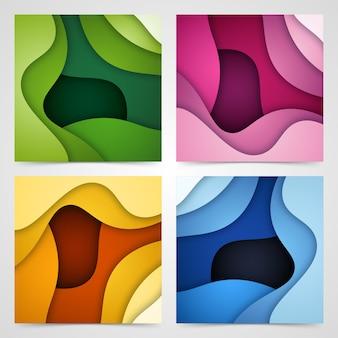 Conjunto de formas de corte de papel y fondo abstracto