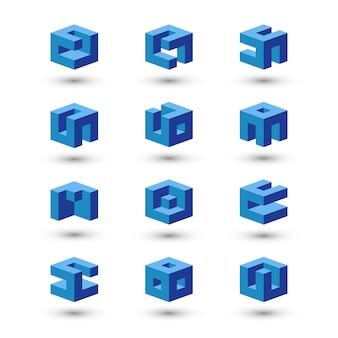 Conjunto de formas de cubo. plantillas de logotipo abstracto.