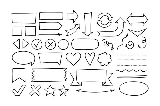 Conjunto de formas dibujadas a mano: flechas, óvalos, rectángulos, subrayados. resalte los marcos redondos y cuadrados. doodle estrellas y corazones negros. ilustración de vectores aislado sobre fondo blanco en estilo doodle