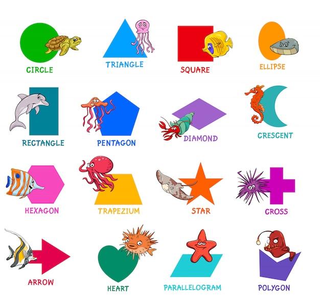 Conjunto de formas geométricas con animales marinos.