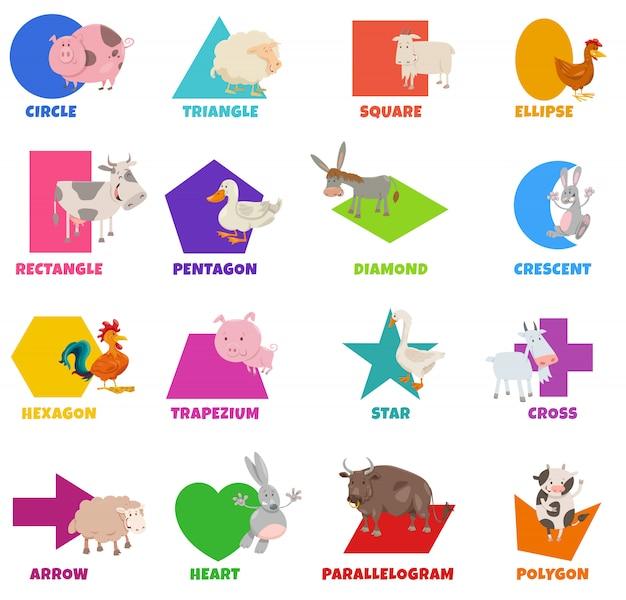 Conjunto de formas geométricas básicas con dibujos animados de animales de granja
