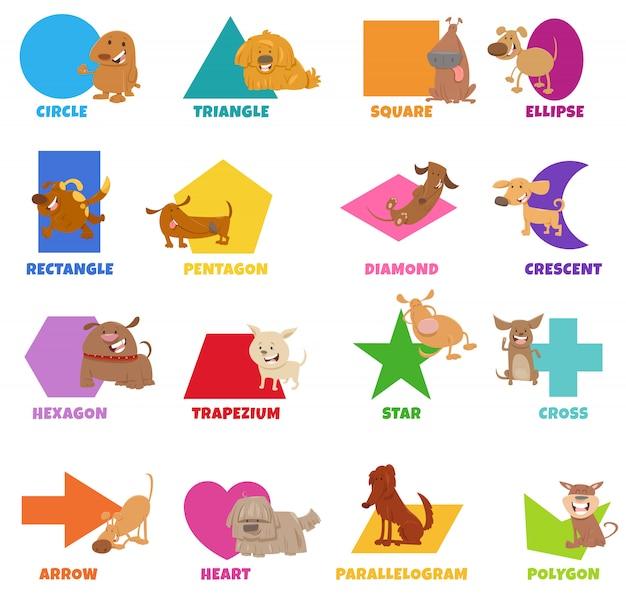 Conjunto de formas geométricas con divertidos personajes de perros