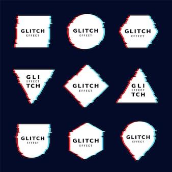 Conjunto de formas geométricas glitch
