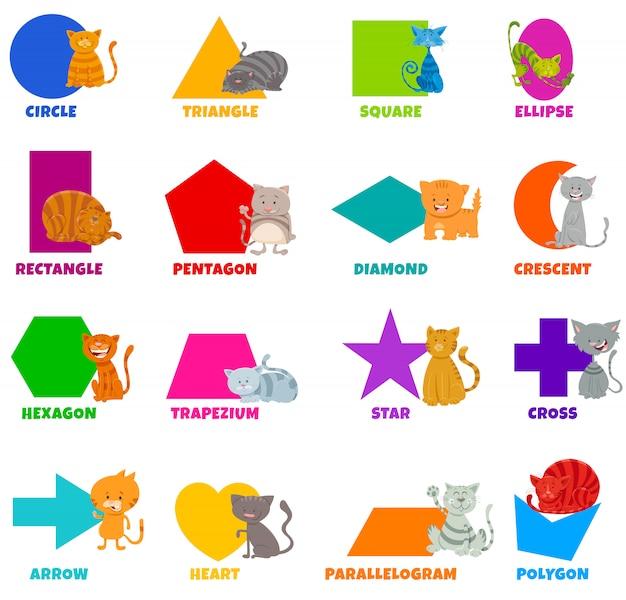 Conjunto de formas geométricas con personajes de gatos