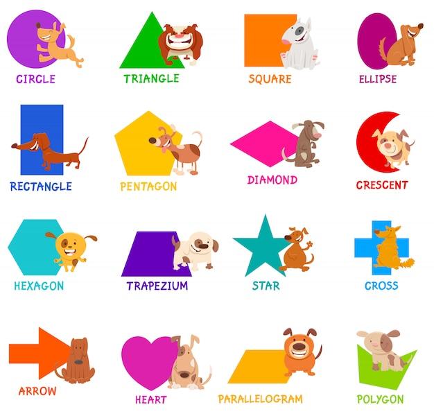 Conjunto de formas geométricas con personajes de perros