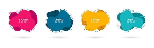 Conjunto de formas líquidas modernas abstractas. elementos dinámicos de colores. banners fluidos abstractos con formas geométricas en estilo memphis.