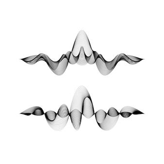 Conjunto de formas de onda sobre fondo blanco, ilustración