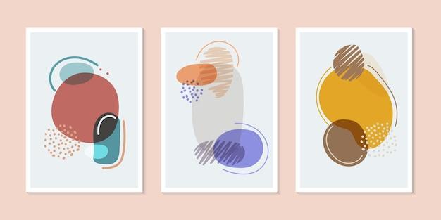 Conjunto de formas orgánicas de folleto de portada de fondo creativo dibujado a mano con líneas de estilo minimalista. ilustración vectorial