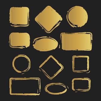 Conjunto de formas pintadas vintage grunge dorado. ilustración vectorial