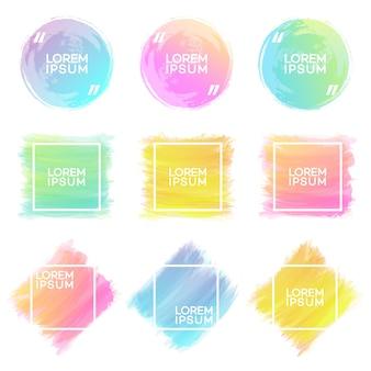 Conjunto de formas de trazos de pincel acuarela dibujada a mano de diferentes colores con marco aislado