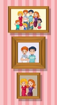 Conjunto de foto de familia feliz en el marco de madera
