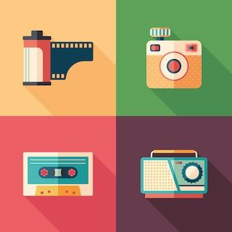 Conjunto de foto vintage y audio iconos planos con largas sombras.