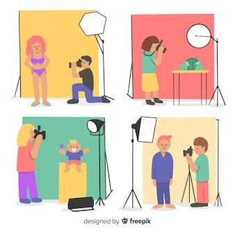 Conjunto de fotógrafos trabajando ilustrados