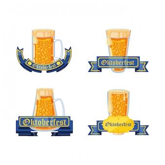 Conjunto de frascos cervezas celebración oktoberfest