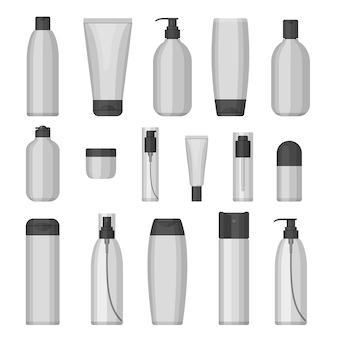 Conjunto de frascos de cosméticos para belleza y limpiador, cuidado de la piel y el cuerpo, aseo. diseño plano sobre fondo blanco. crema, pasta de dientes, champú, gel, spray, tubo y jabón