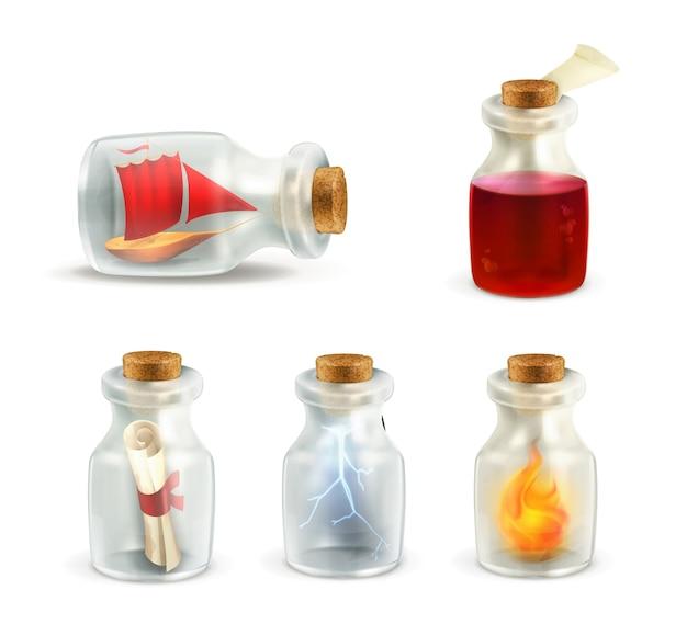 Conjunto de frascos con diferentes elementos.