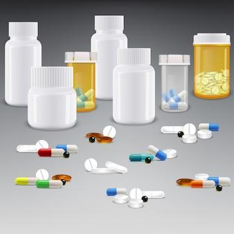 Conjunto de frascos de medicamentos con medicamentos y pastillas.