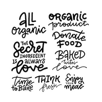 Conjunto de frase de letras dibujadas a mano sobre comida, bebida, cocina.