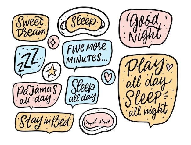 Conjunto de frases de doodle de sueño y sueño