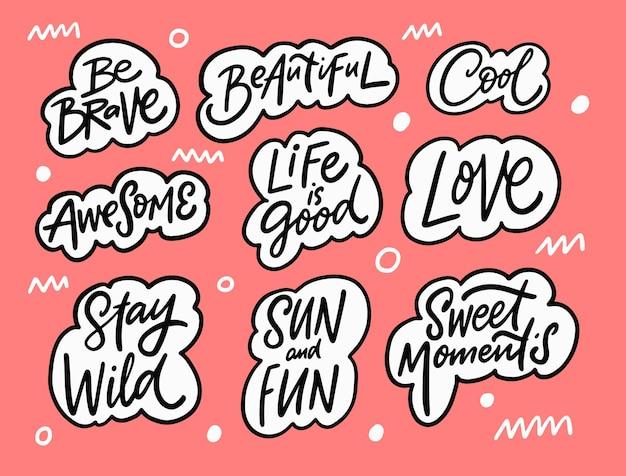 Conjunto de frases de letras impresionantes texto de color negro dibujado a mano en burbujas estilo doodle