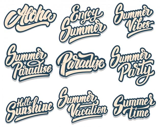 Conjunto de frases de letras de verano. aloha, paraíso, fiesta de verano. elemento para cartel, impresión, tarjeta, banner, flyer. imagen Vector Premium
