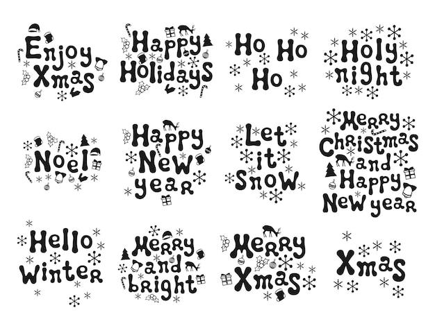 Conjunto de frases de navidad y año nuevo.