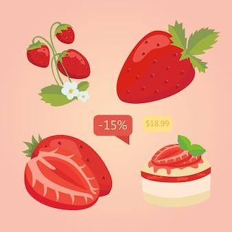 Conjunto de fresa aislado. ilustración de dibujos animados de baya. ilustración vectorial