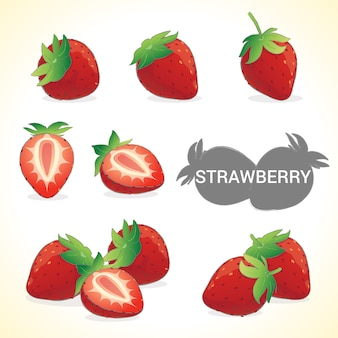 Conjunto de fresa en formato vectorial de varios estilos